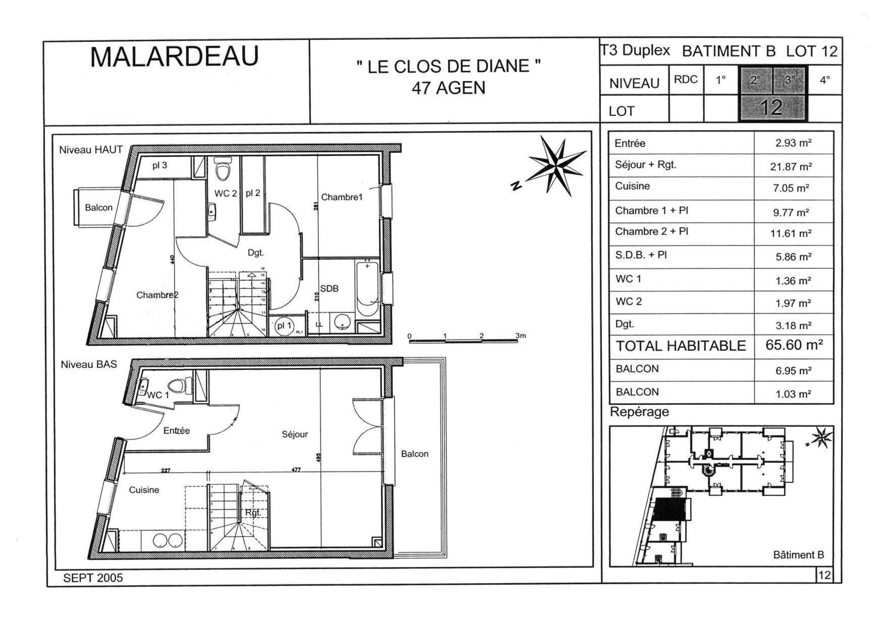 3 pices duplex le clos de diane for Plan de maison duplex moderne